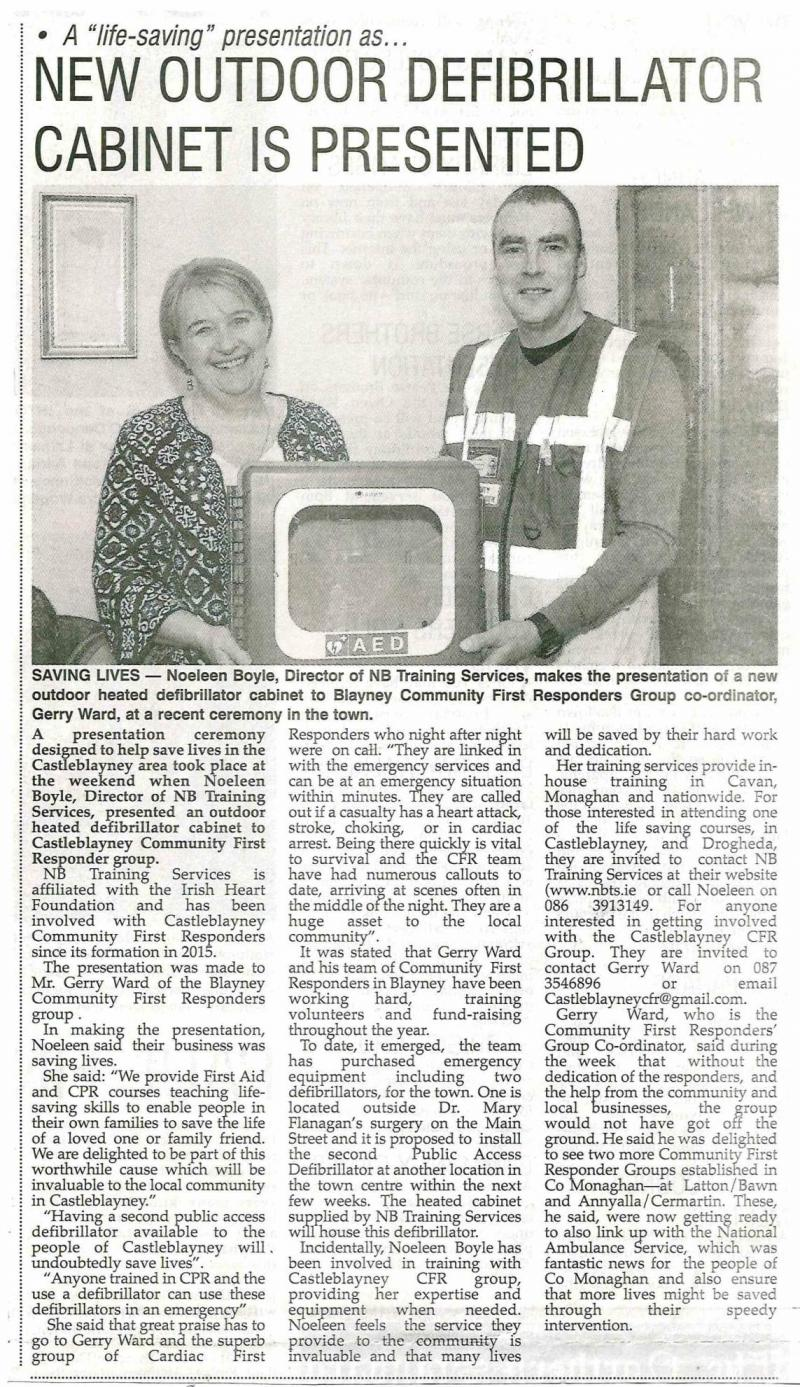 defibrillator Cabinet presented to CFR Group in Monaghan